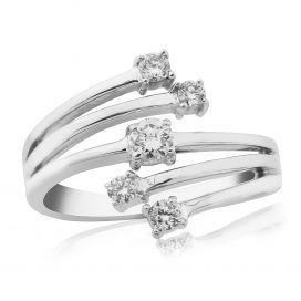 9ct White Gold 0.30ct Diamond Spray Ring