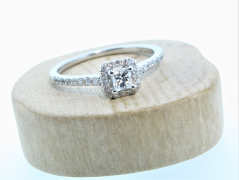 Platinum Princess Cut Cluster Ring with Diamond Shoulders