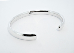 Hoxne Gents Silver Polished Torque Bangle Hand Made by Mark Riley