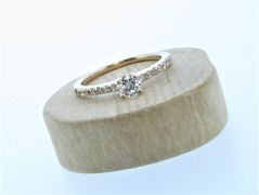 18ct Rose Gold 0.27ct Diamond Solitaire with Diamond Shoulders