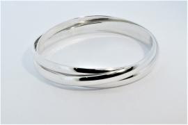 Triple Charlotte Silver Polished Bangle Hand Made by Mark Riley