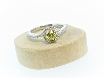 18ct White Gold 0.67ct Yellow Sapphire & 0.27ct Diamond Fancy Twist Ring