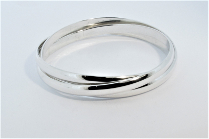 Triple Charlotte Silver Polished Bangle Hand Made by Mark Riley