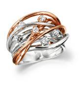Diamond Basket Ring Rose & White Gold