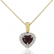 18ct Yellow Gold Ruby and Diamond Heart Cluster Pendant