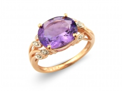 9ct Rose Gold Oval Amethyst and Diamond Ring