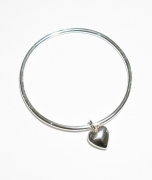 Hand-made Silver 'Anouska' Bangle & Hand Carved Heart Charm by Mark Riley