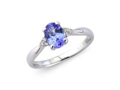 9ct White Gold Oval Tanzanite & Diamond Ring