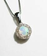 9ct White Gold Opal & Diamond Pendant & Chain