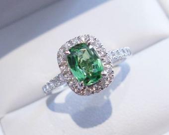 Tsavorite Garnet & Diamond Cluster Ring
