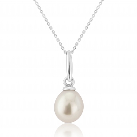 9ct White Gold Cultured Pearl Pendant