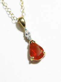 9ct Yellow Gold Diamond & Fire Opal Pendant & Chain