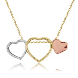 9ct 3 Colour Three of Hearts Pendant