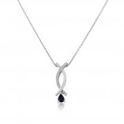 9ct White Gold Diamond and Sapphire Pendant & Chain