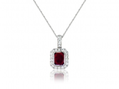 18ct White Gold Ruby & Diamond Surround Pendant Necklace