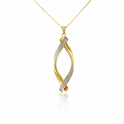 9ct Yellow Gold Glitter Twist Pendant
