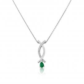 9ct White Gold Diamond & Emerald Pendant