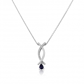 9ct White Gold Diamond and Sapphire Pendant & Chain