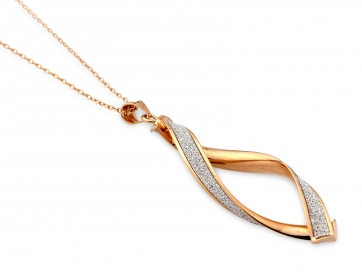 9ct Rose Gold Glitter Twist Pendant