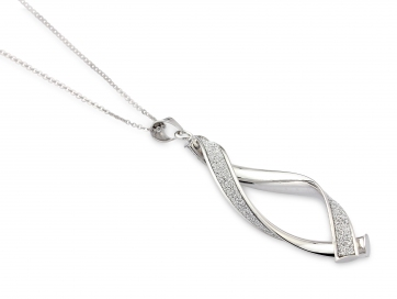 9ct White Gold Glitter Twist Pendant