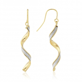 9ct Yellow Gold Glitter Twist Earrings