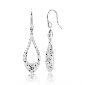 9ct White Gold Textured Loop Earrings