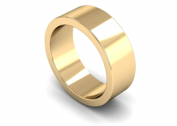 Heavy Weight Flat 8mm Wedding Ring in 9ct Yellow Gold