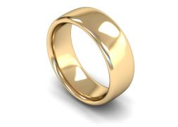 Heavy Weight Slight Court 8mm Wedding Ring in 9ct Yellow Gold