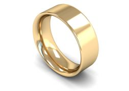 Heavy Weight Flat Court 8mm Wedding Ring in 9ct Yellow Gold