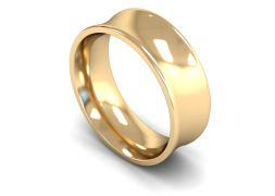 Heavy Weight Concave 8mm Wedding Ring in 9ct Yellow Gold