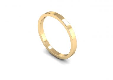 Classic Weight Flat 2mm Wedding Ring in 9ct Yellow Gold