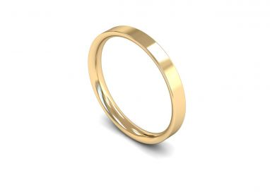 Classic Weight Flat Court 2.5mm Wedding Ring in 9ct Yellow Gold