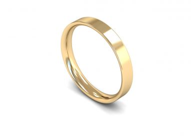 Classic Weight Flat Court 3mm Wedding Ring in 9ct Yellow Gold