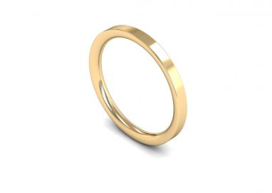 Medium Weight Flat Court 2mm Wedding Ring in 9ct Yellow Gold