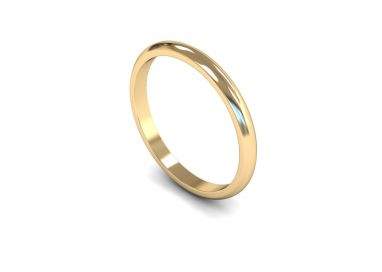 Classic Weight 'D' Shape 2mm Wedding Ring in 9ct Yellow Gold