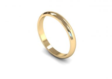 Classic Weight 'D' Shape 2.5mm Wedding Ring in 9ct Yellow Gold
