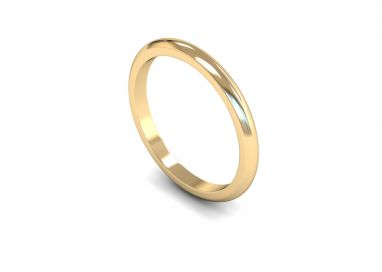 Medium Weight 'D' Shape 2mm Wedding Ring in 9ct Yellow Gold