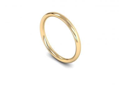 Medium Weight Traditional Court 2mm Wedding Ring in 9ct Yellow Gold
