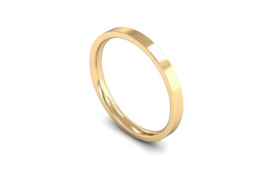 Classic Weight Flat Court/Flat Edge 2mm Wedding Ring in 9ct Yellow Gold