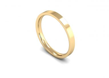 Classic Weight Flat Court/Flat Edge 2.5mm Wedding Ring in 9ct Yellow Gold