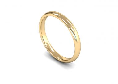 Classic Weight Traditional Court/Flat Edge 2.5mm Wedding Ring in 9ct Yellow Gold