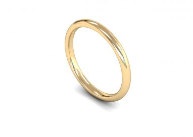 Medium Weight Traditional Court/Flat Edge 2mm Wedding Ring in 9ct Yellow Gold