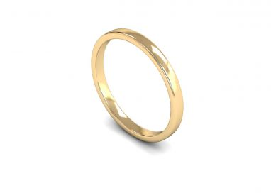 Classic Weight Edged Slight Court 2mm  Wedding Ring in 9ct Yellow Gold