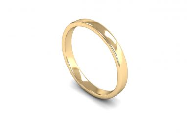 Classic Weight Edged Slight Court 2.5mm  Wedding Ring in 9ct Yellow Gold