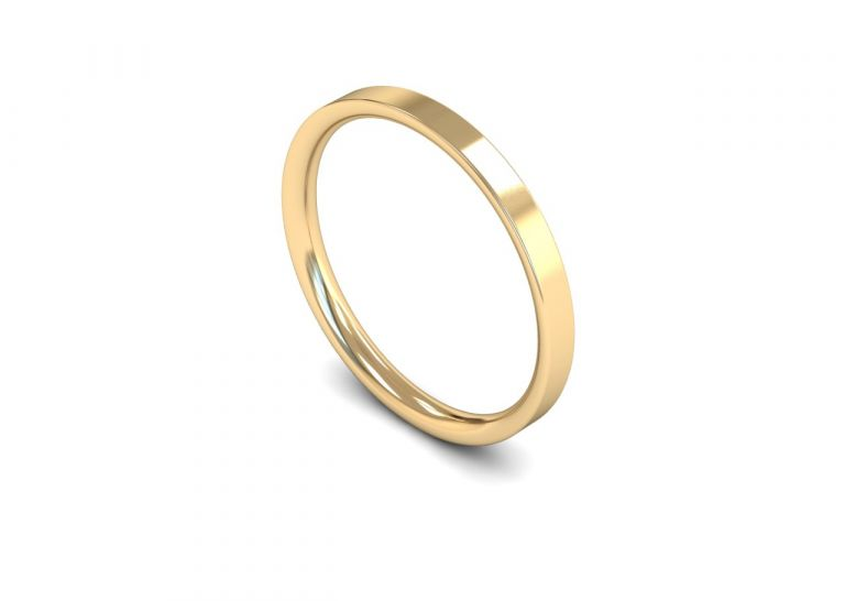Classic Weight Flat Court 2mm Wedding Ring in 9ct Yellow Gold