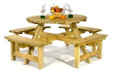 8 seat round garden picnic table