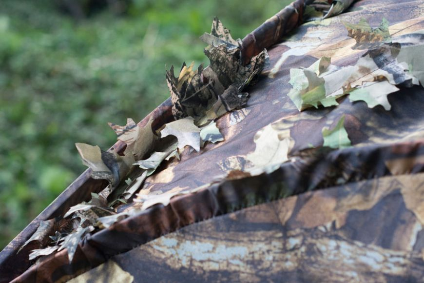 Camo leaf photographer hide