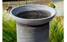 grey bird bath with pedastal