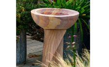 Rainbow sandstone birdbath
