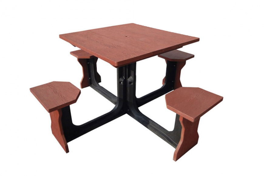 Small Square Picnic Table Red
